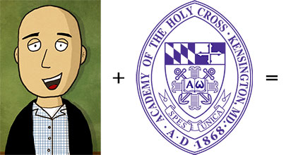 comic artist David Werner's rendering of Duncan Brook added to the Academy of the Holy Cross seal equals